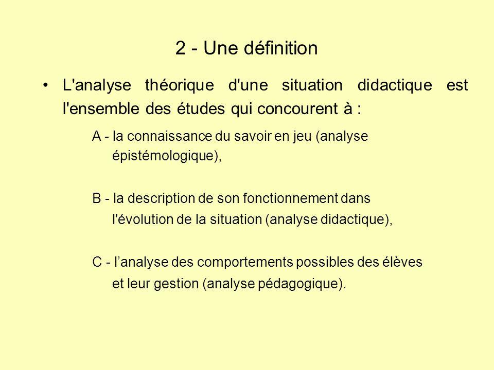 L'analyse théorique d'une situation didactique est l'ensemble des études qui concourent à : 2 - Une définition A - la connaissance du savoir en jeu (a