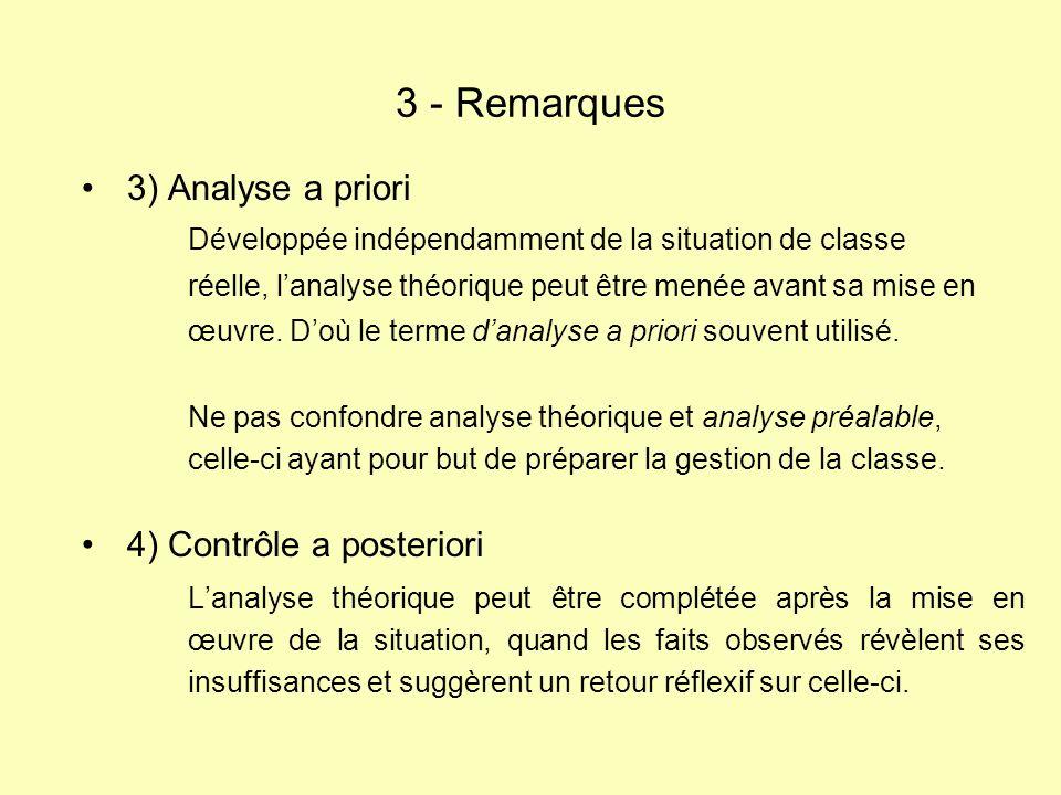 3) Analyse a priori Développée indépendamment de la situation de classe réelle, lanalyse théorique peut être menée avant sa mise en œuvre.
