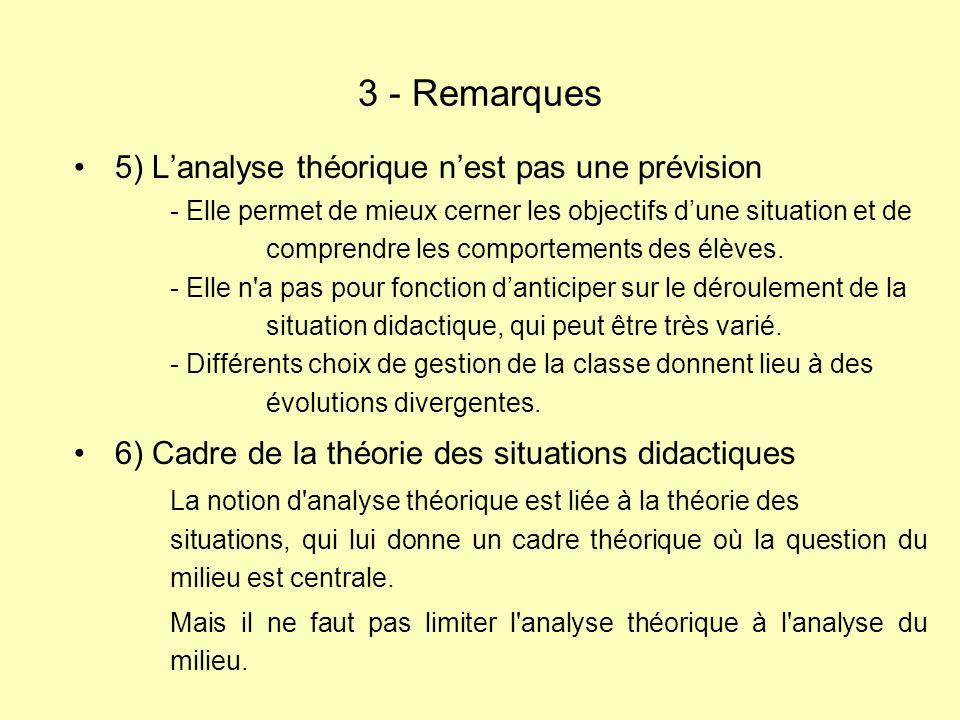 5) Lanalyse théorique nest pas une prévision - Elle permet de mieux cerner les objectifs dune situation et de comprendre les comportements des élèves.