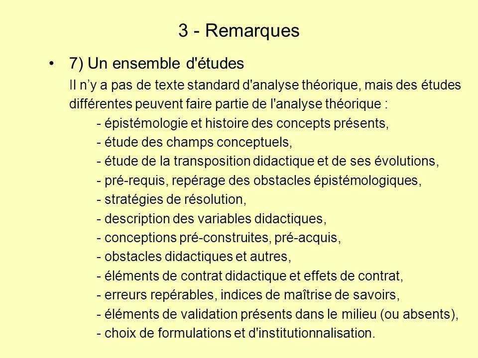 7) Un ensemble d études Il ny a pas de texte standard d analyse théorique, mais des études différentes peuvent faire partie de l analyse théorique : - épistémologie et histoire des concepts présents, - étude des champs conceptuels, - étude de la transposition didactique et de ses évolutions, - pré-requis, repérage des obstacles épistémologiques, - stratégies de résolution, - description des variables didactiques, - conceptions pré-construites, pré-acquis, - obstacles didactiques et autres, - éléments de contrat didactique et effets de contrat, - erreurs repérables, indices de maîtrise de savoirs, - éléments de validation présents dans le milieu (ou absents), - choix de formulations et d institutionnalisation.