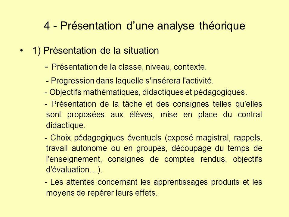1) Présentation de la situation - Présentation de la classe, niveau, contexte. - Progression dans laquelle s'insérera l'activité. - Objectifs mathémat
