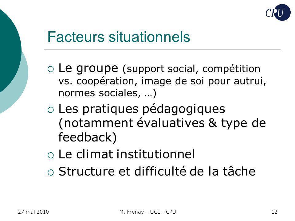 27 mai 2010M. Frenay – UCL - CPU12 Facteurs situationnels Le groupe (support social, compétition vs. coopération, image de soi pour autrui, normes soc