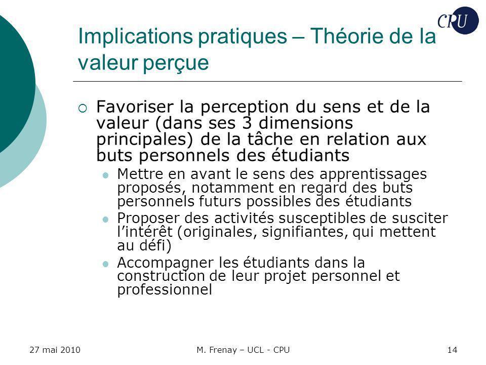 27 mai 2010M. Frenay – UCL - CPU14 Implications pratiques – Théorie de la valeur perçue Favoriser la perception du sens et de la valeur (dans ses 3 di