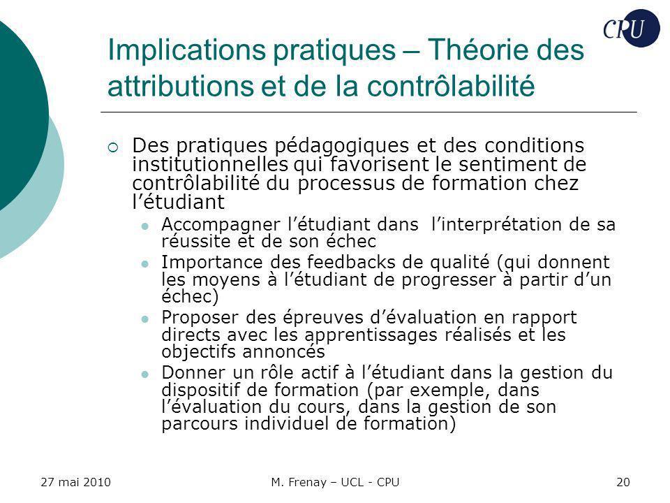 27 mai 2010M. Frenay – UCL - CPU20 Implications pratiques – Théorie des attributions et de la contrôlabilité Des pratiques pédagogiques et des conditi
