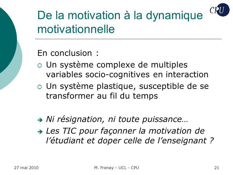 27 mai 2010M. Frenay – UCL - CPU21 De la motivation à la dynamique motivationnelle En conclusion : Un système complexe de multiples variables socio-co