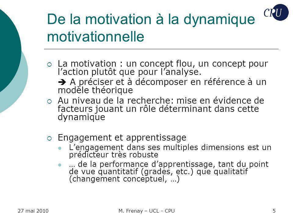 27 mai 2010M. Frenay – UCL - CPU5 De la motivation à la dynamique motivationnelle La motivation : un concept flou, un concept pour laction plutôt que
