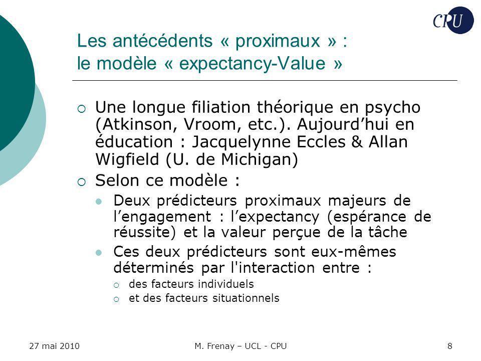 27 mai 2010M. Frenay – UCL - CPU8 Les antécédents « proximaux » : le modèle « expectancy-Value » Une longue filiation théorique en psycho (Atkinson, V