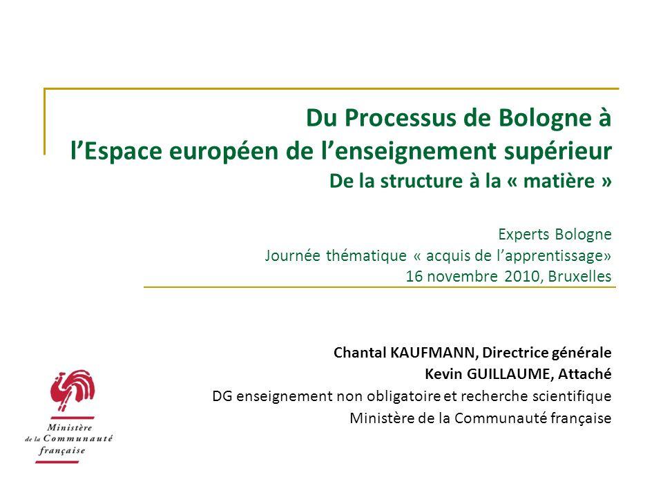 Du Processus de Bologne à lEspace européen de lenseignement supérieur De la structure à la « matière » Experts Bologne Journée thématique « acquis de