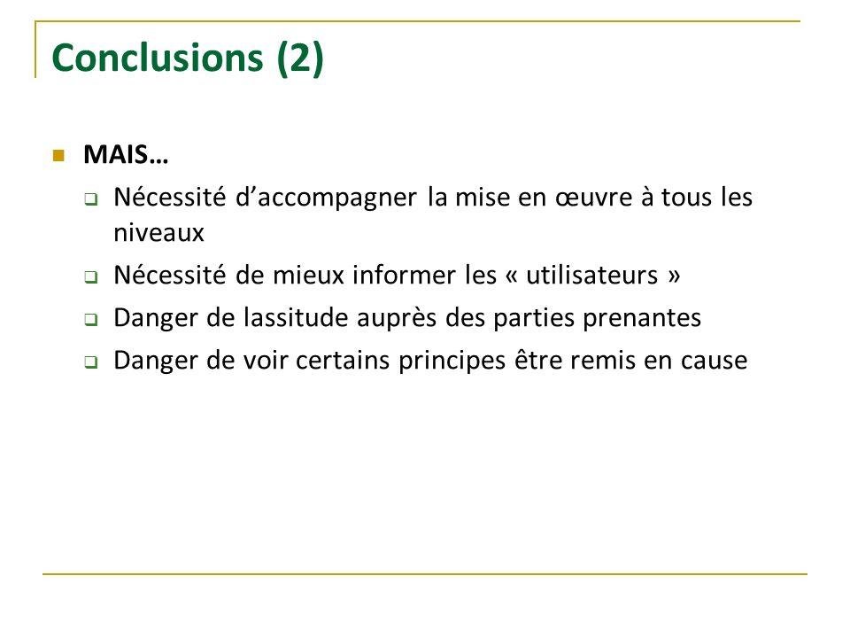 Conclusions (2) MAIS… Nécessité daccompagner la mise en œuvre à tous les niveaux Nécessité de mieux informer les « utilisateurs » Danger de lassitude