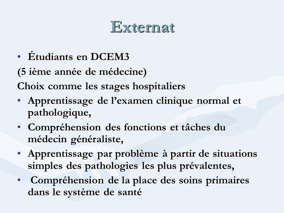 Externat Étudiants en DCEM3Étudiants en DCEM3 (5 ième année de médecine) Choix comme les stages hospitaliers Apprentissage de lexamen clinique normal