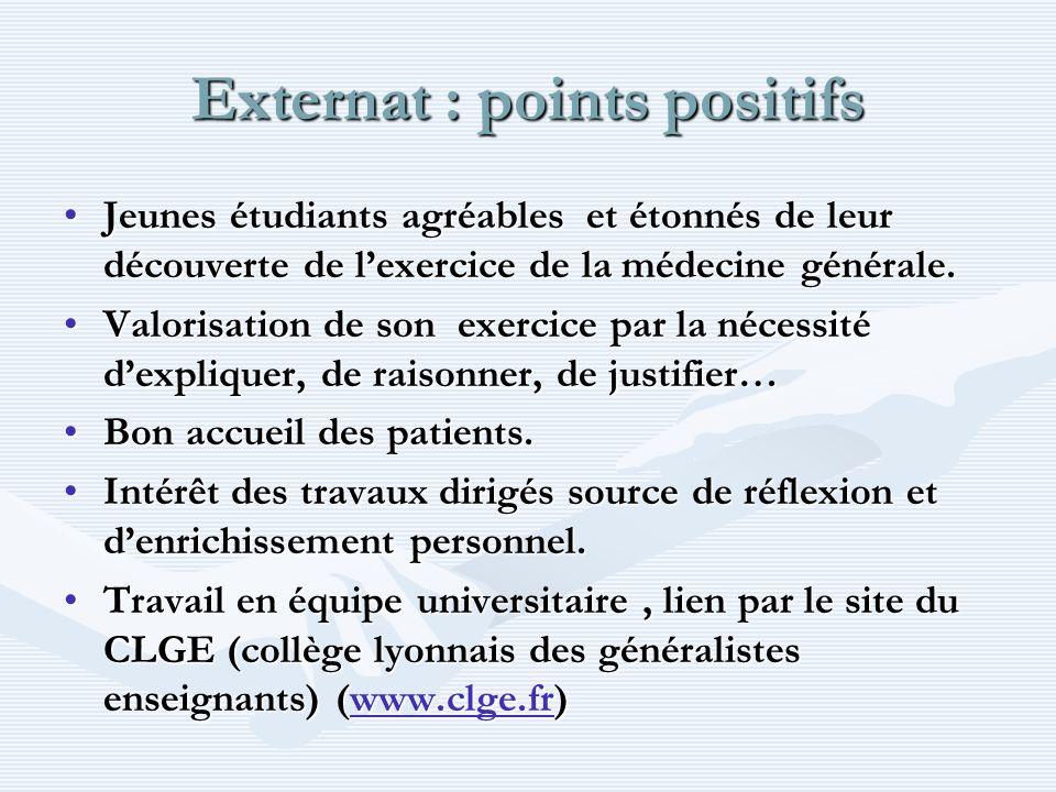 Externat : points positifs Jeunes étudiants agréables et étonnés de leur découverte de lexercice de la médecine générale.Jeunes étudiants agréables et