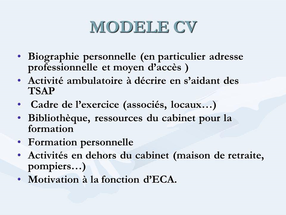 MODELE CV Biographie personnelle (en particulier adresse professionnelle et moyen daccès )Biographie personnelle (en particulier adresse professionnel