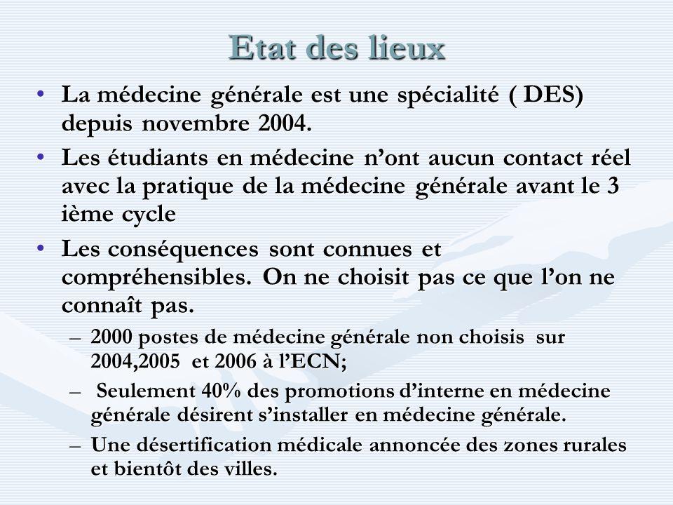 Etat des lieux La médecine générale est une spécialité ( DES) depuis novembre 2004.La médecine générale est une spécialité ( DES) depuis novembre 2004.