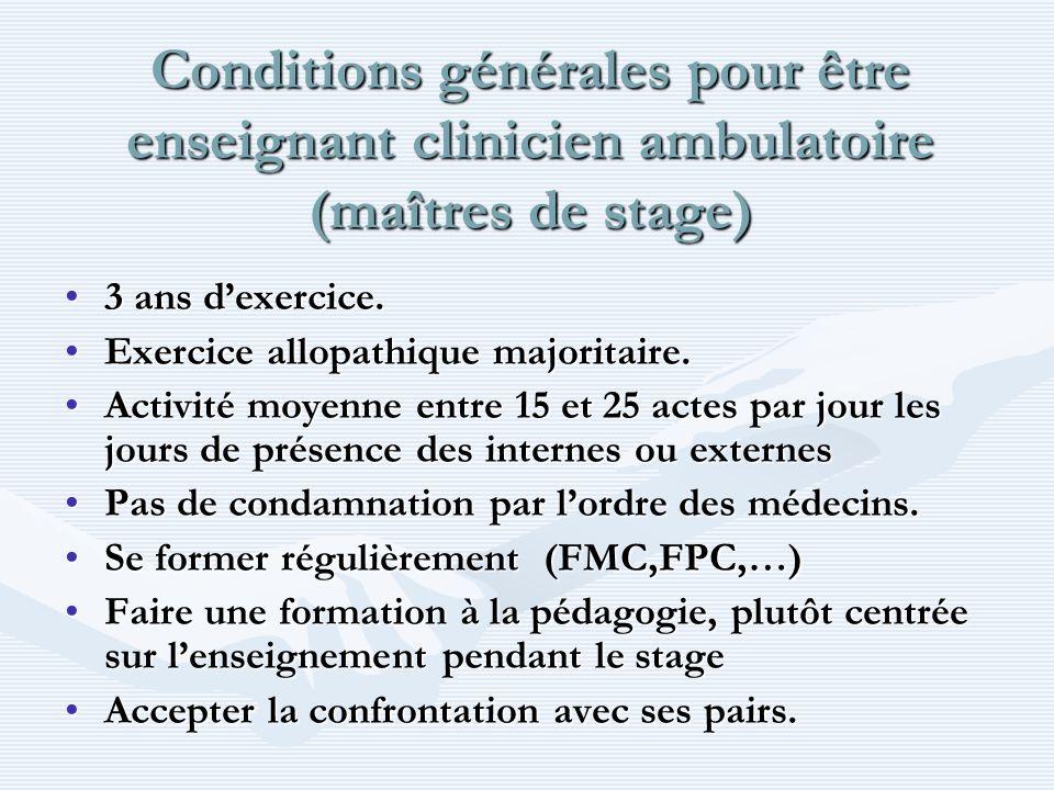 Conditions générales pour être enseignant clinicien ambulatoire (maîtres de stage) 3 ans dexercice.3 ans dexercice. Exercice allopathique majoritaire.