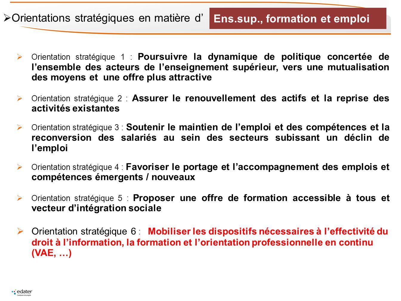 Orientation stratégique 1 : Poursuivre la dynamique de politique concertée de lensemble des acteurs de lenseignement supérieur, vers une mutualisation