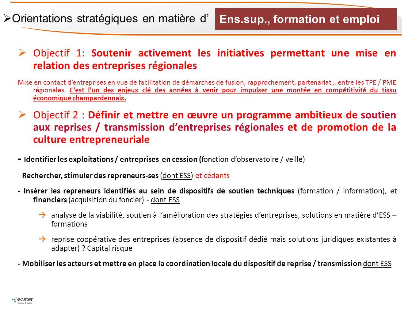 Objectif 1: Soutenir activement les initiatives permettant une mise en relation des entreprises régionales Mise en contact dentreprises en vue de faci