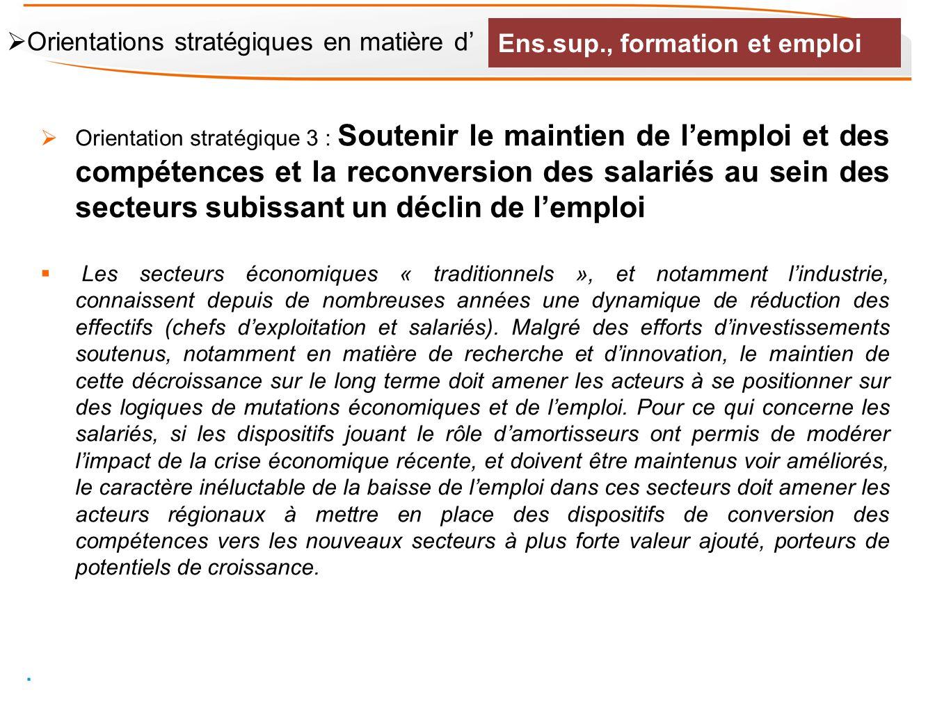Orientation stratégique 3 : Soutenir le maintien de lemploi et des compétences et la reconversion des salariés au sein des secteurs subissant un décli