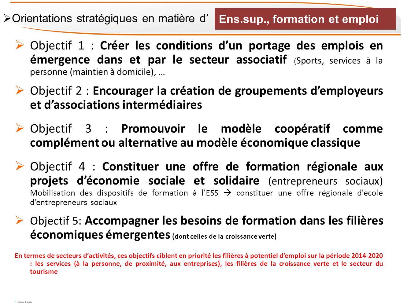 Objectif 1 : Créer les conditions dun portage des emplois en émergence dans et par le secteur associatif ( Sports, services à la personne (maintien à