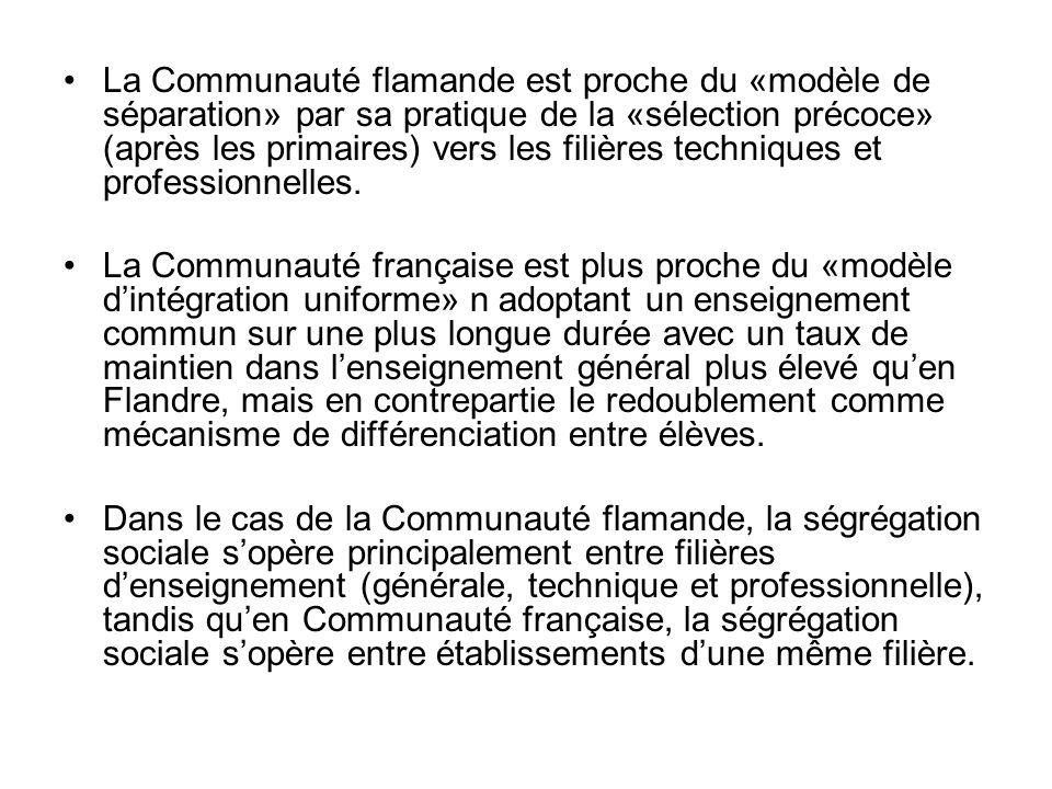 La Communauté flamande est proche du «modèle de séparation» par sa pratique de la «sélection précoce» (après les primaires) vers les filières techniques et professionnelles.