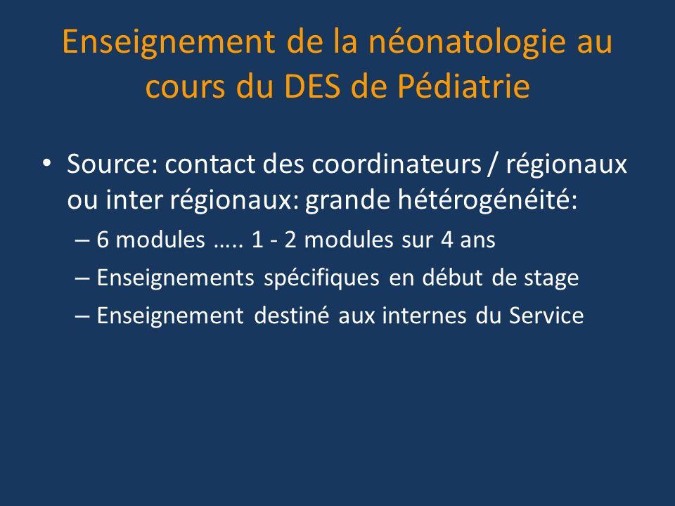 Enseignement de la néonatologie au cours du DES de Pédiatrie Source: contact des coordinateurs / régionaux ou inter régionaux: grande hétérogénéité: –
