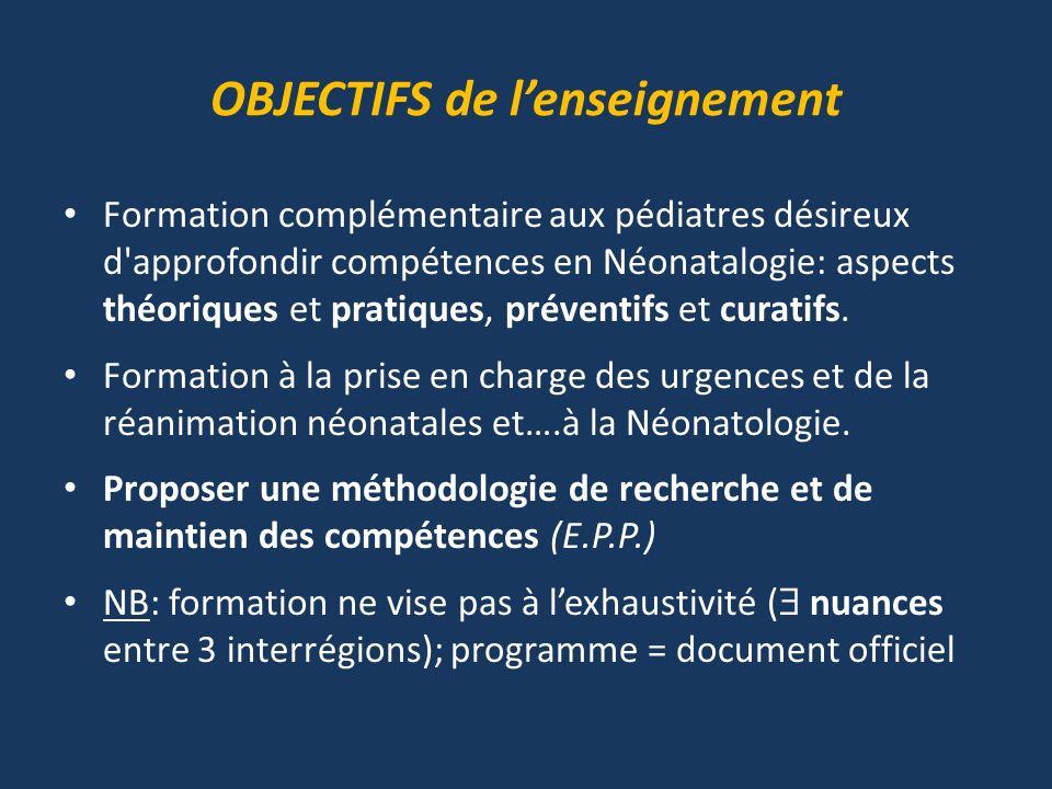 OBJECTIFS de lenseignement Formation complémentaire aux pédiatres désireux d'approfondir compétences en Néonatalogie: aspects théoriques et pratiques,