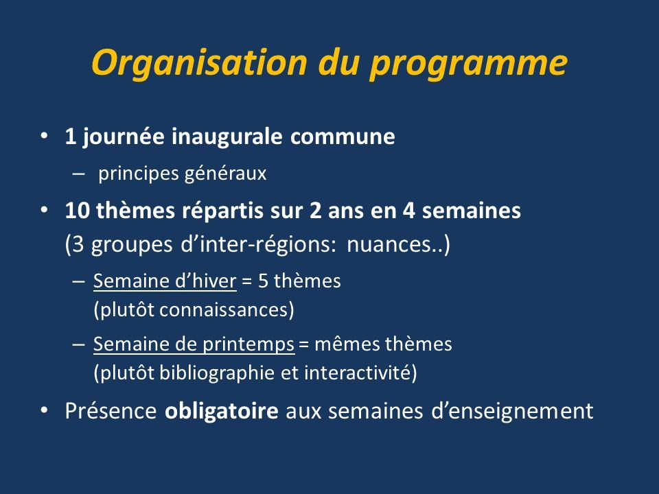 Organisation du programme 1 journée inaugurale commune – principes généraux 10 thèmes répartis sur 2 ans en 4 semaines (3 groupes dinter-régions: nuan