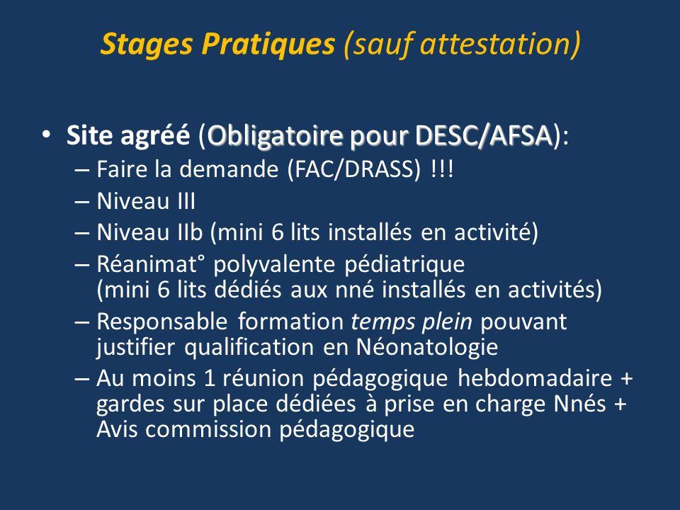 Stages Pratiques (sauf attestation) Obligatoire pour DESC/AFSA Site agréé (Obligatoire pour DESC/AFSA): – Faire la demande (FAC/DRASS) !!! – Niveau II