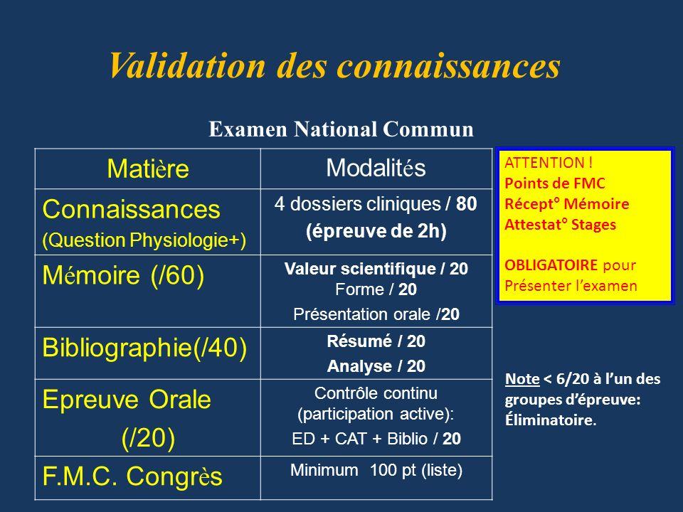 Examen National Commun Validation des connaissances Mati è re Modalit é s Connaissances (Question Physiologie+) 4 dossiers cliniques / 80 (épreuve de