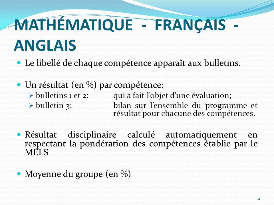 MATHÉMATIQUE - FRANÇAIS - ANGLAIS Le libellé de chaque compétence apparaît aux bulletins.