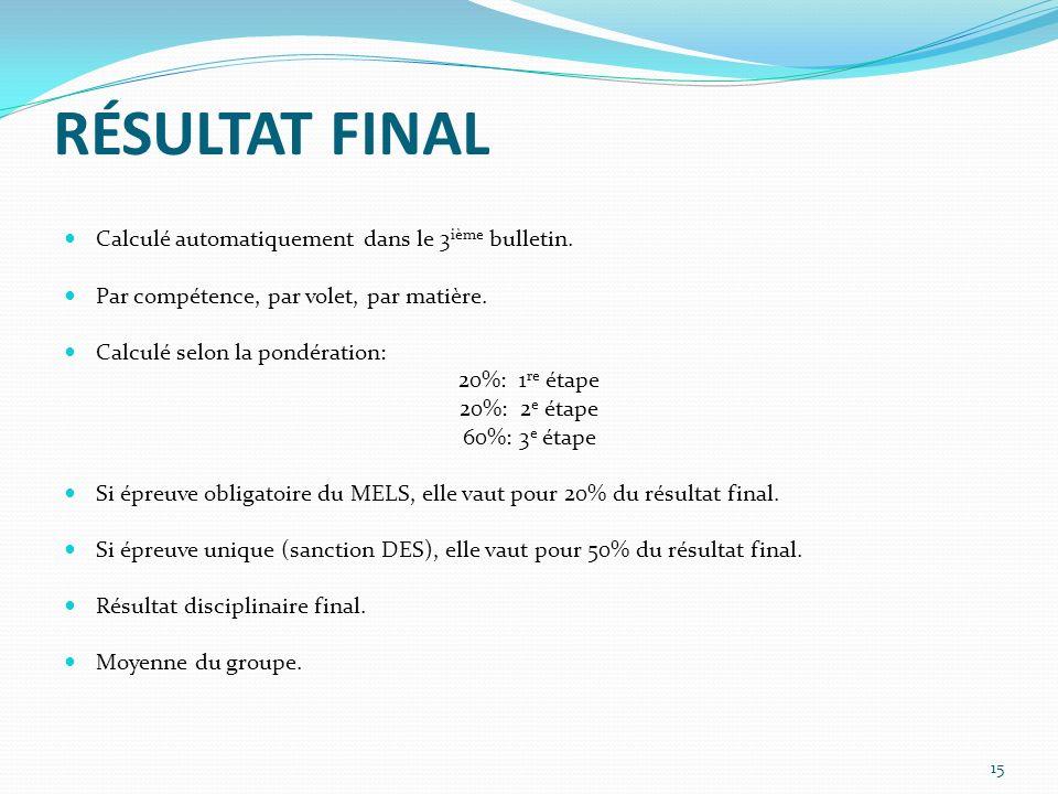 RÉSULTAT FINAL Calculé automatiquement dans le 3 ième bulletin.