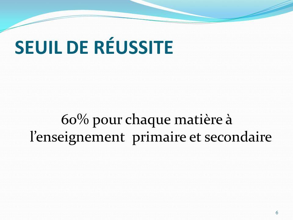 SEUIL DE RÉUSSITE 60% pour chaque matière à lenseignement primaire et secondaire 6