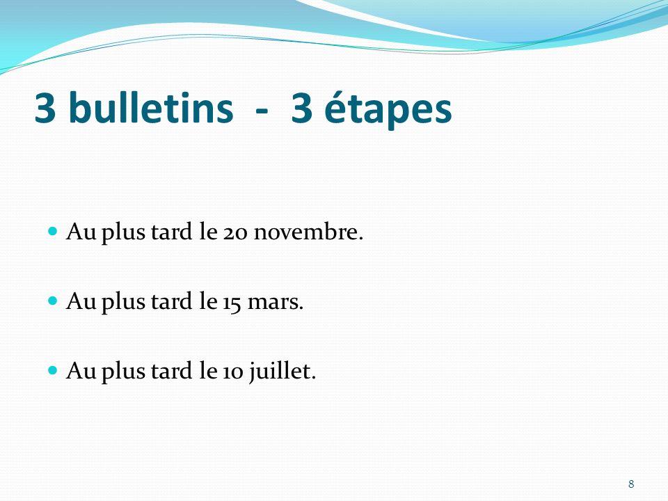 3 bulletins - 3 étapes Au plus tard le 20 novembre.