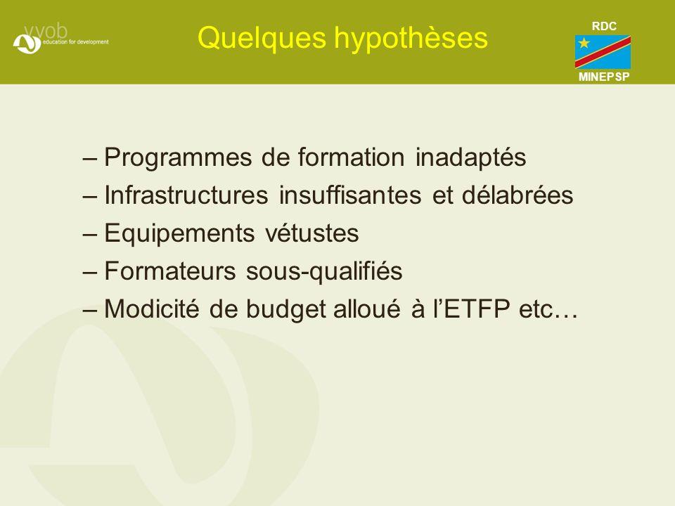 Quelques hypothèses –Programmes de formation inadaptés –Infrastructures insuffisantes et délabrées –Equipements vétustes –Formateurs sous-qualifiés –M