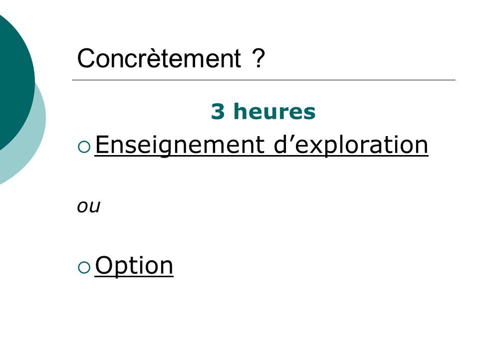 Concrètement ? 3 heures Enseignement dexploration ou Option