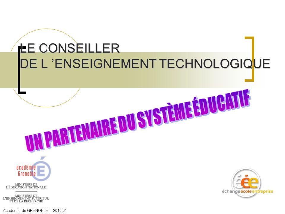 LE CONSEILLER DE L ENSEIGNEMENT TECHNOLOGIQUE Académie de GRENOBLE – 2010-01