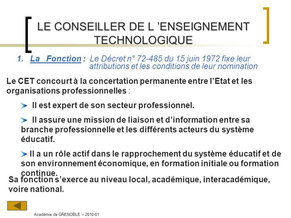 LE CONSEILLER DE L ENSEIGNEMENT TECHNOLOGIQUE 1. La Fonction : Le Décret n° 72-485 du 15 juin 1972 fixe leur attributions et les conditions de leur no