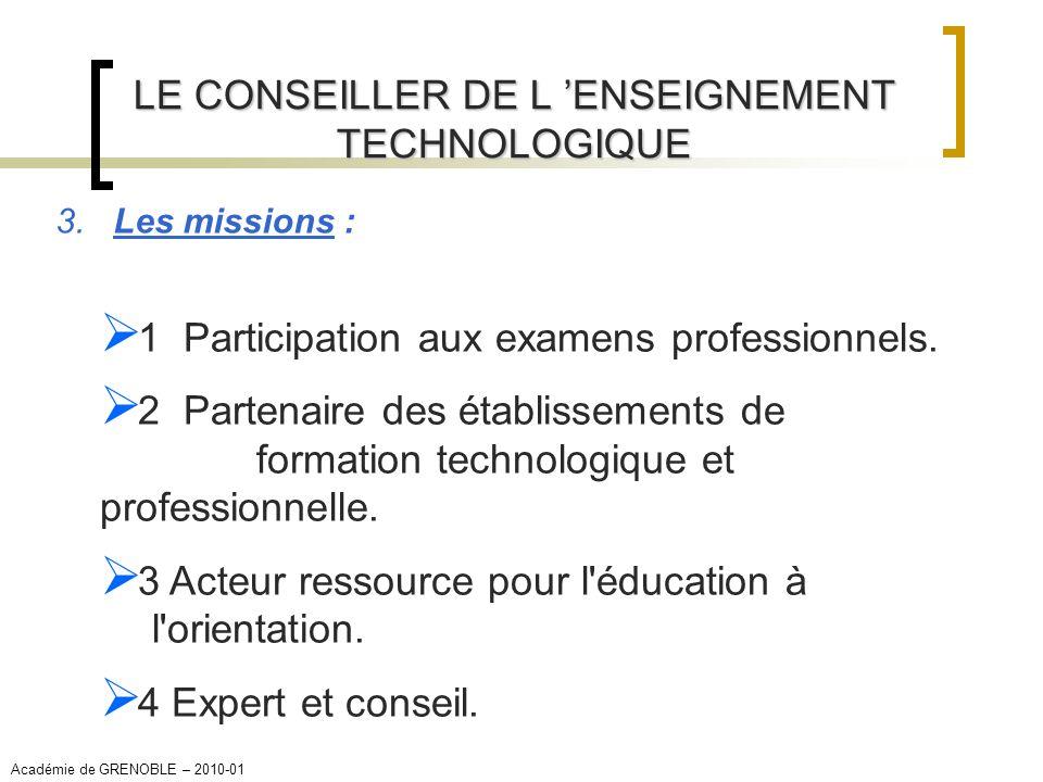 LE CONSEILLER DE L ENSEIGNEMENT TECHNOLOGIQUE 3. Les missions : 1 Participation aux examens professionnels. 2 Partenaire des établissements de formati