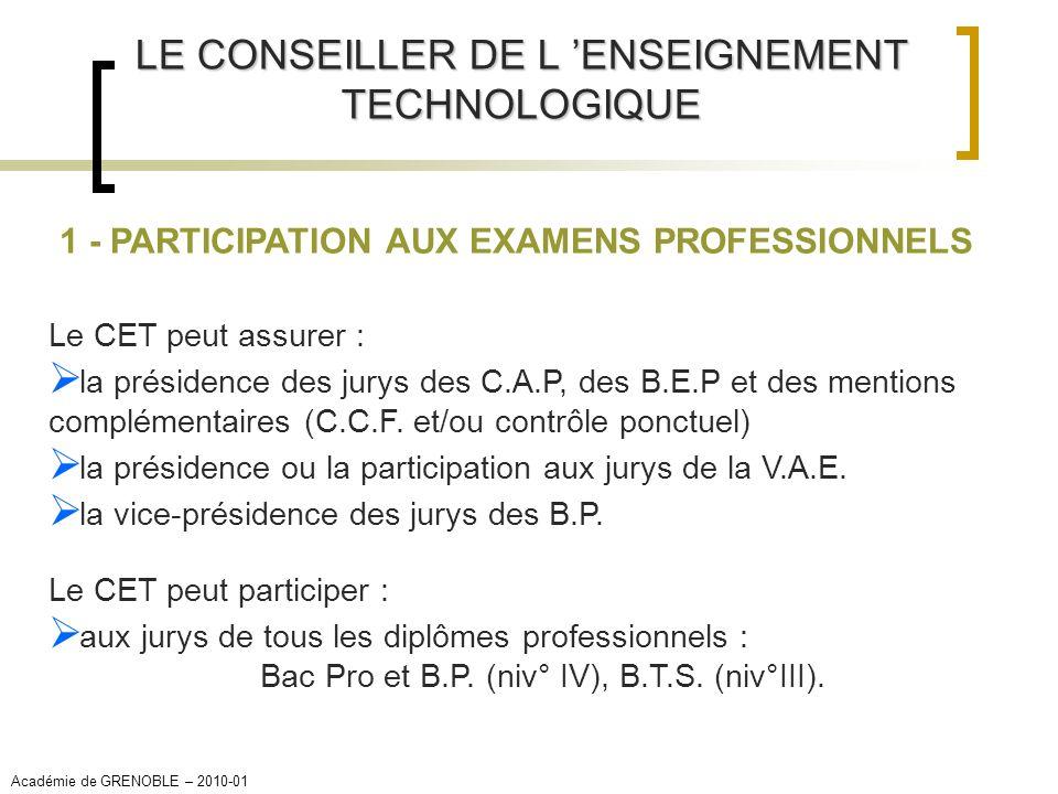 LE CONSEILLER DE L ENSEIGNEMENT TECHNOLOGIQUE 1 - PARTICIPATION AUX EXAMENS PROFESSIONNELS Le CET peut assurer : la présidence des jurys des C.A.P, de