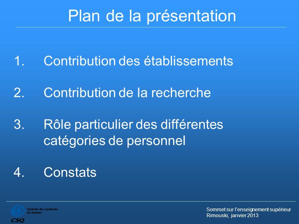 Sommet sur lenseignement supérieur Rimouski, janvier 2013 Plan de la présentation 1.