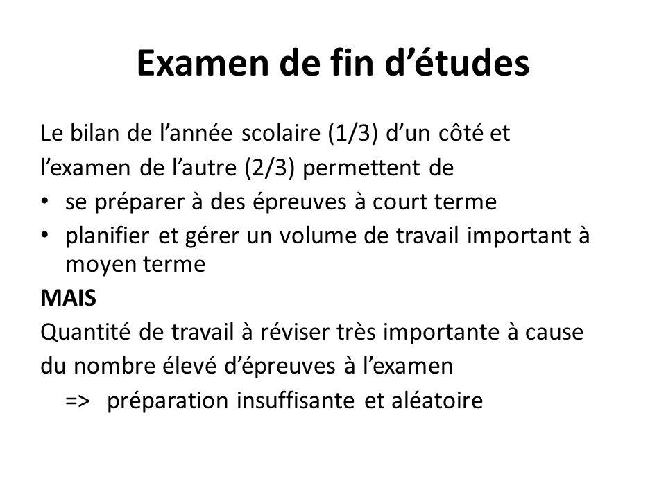Examen de fin détudes Le bilan de lannée scolaire (1/3) dun côté et lexamen de lautre (2/3) permettent de se préparer à des épreuves à court terme pla