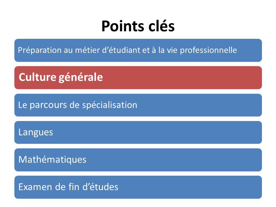Points clés Préparation au métier détudiant et à la vie professionnelle Culture générale Le parcours de spécialisation LanguesMathématiquesExamen de f