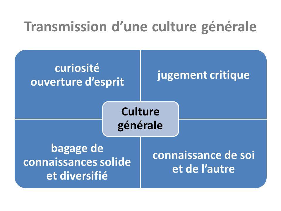 Transmission dune culture générale curiosité ouverture desprit jugement critique bagage de connaissances solide et diversifié connaissance de soi et de lautre Culture générale
