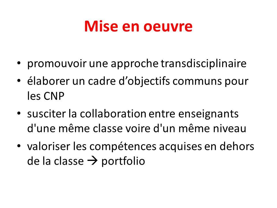 Mise en oeuvre promouvoir une approche transdisciplinaire élaborer un cadre dobjectifs communs pour les CNP susciter la collaboration entre enseignants d une même classe voire d un même niveau valoriser les compétences acquises en dehors de la classe portfolio