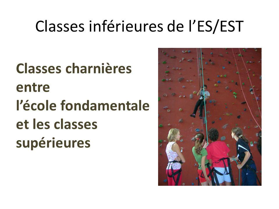 Classes inférieures de lES/EST Classes charnières entre lécole fondamentale et les classes supérieures