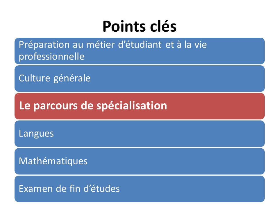 Points clés Préparation au métier détudiant et à la vie professionnelle Culture générale Le parcours de spécialisation LanguesMathématiquesExamen de fin détudes