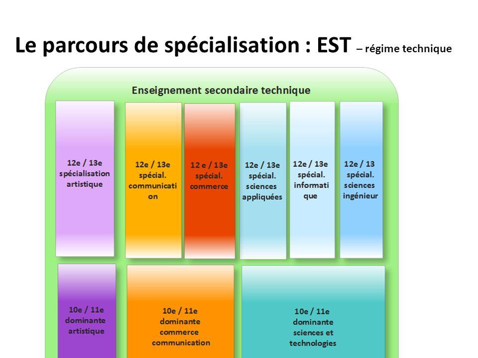 Le parcours de spécialisation : EST – régime technique