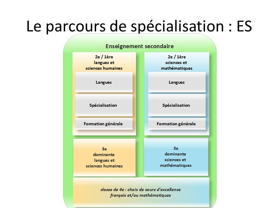Le parcours de spécialisation : ES