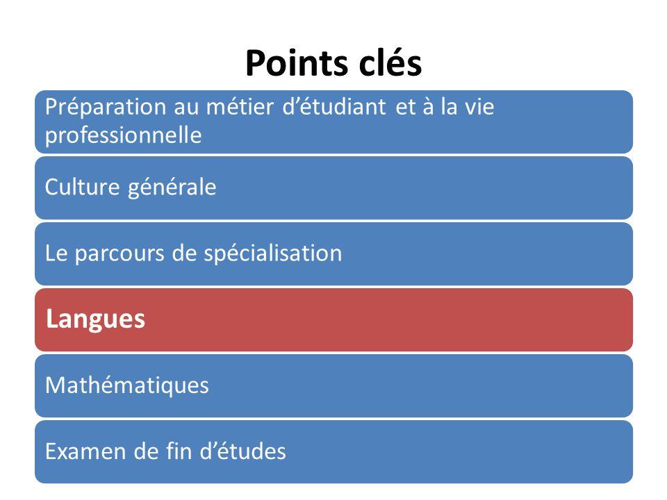 Points clés Préparation au métier détudiant et à la vie professionnelle Culture généraleLe parcours de spécialisation Langues MathématiquesExamen de fin détudes