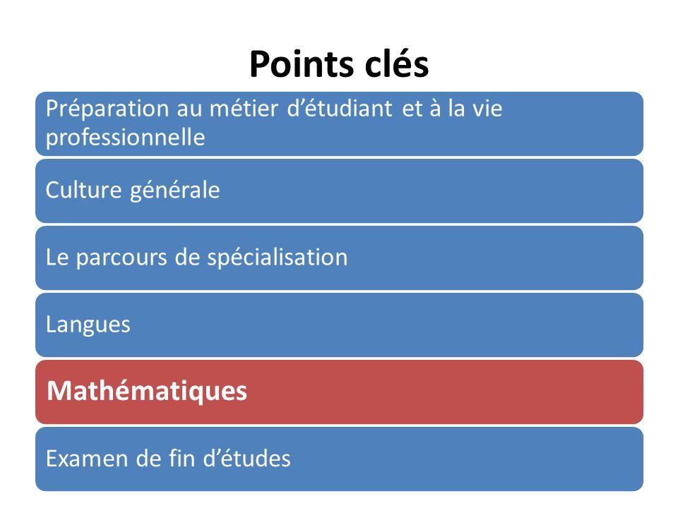 Points clés Préparation au métier détudiant et à la vie professionnelle Culture généraleLe parcours de spécialisationLangues Mathématiques Examen de fin détudes