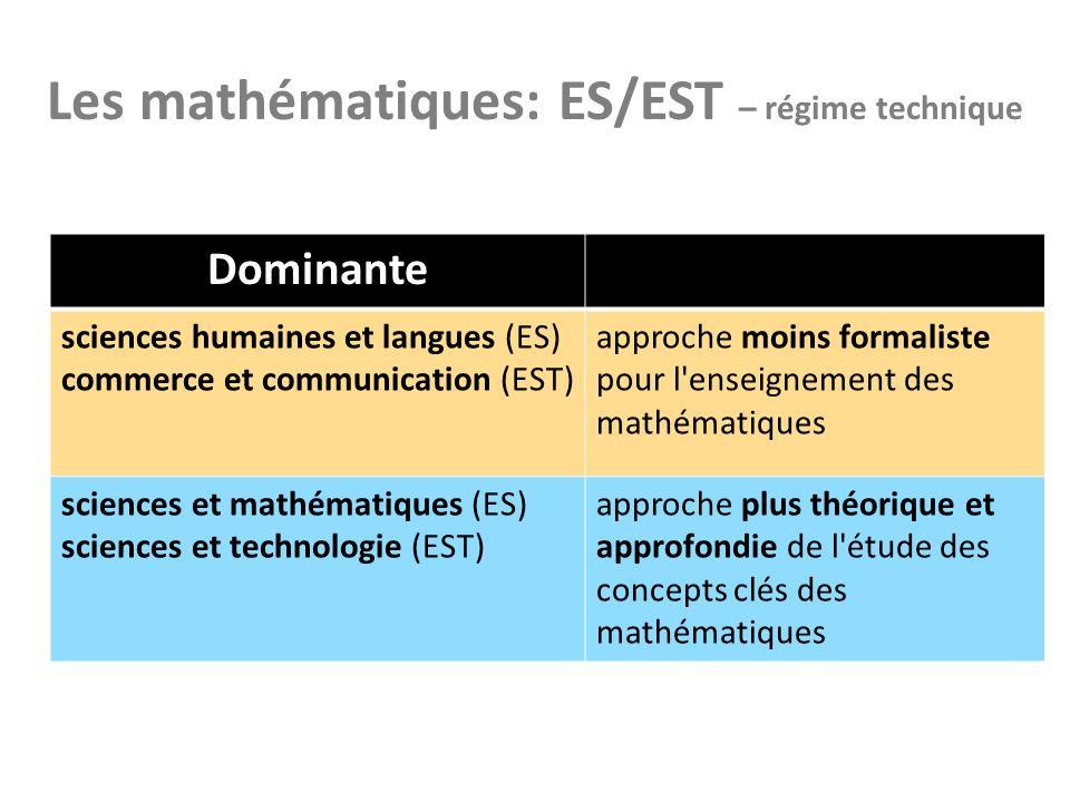 Les mathématiques: ES/EST – régime technique Dominante sciences humaines et langues (ES) commerce et communication (EST) approche moins formaliste pou
